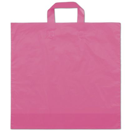 "Hot Pink Frosted Economy Shoppers, 16 x 15"" + 6"" BG"