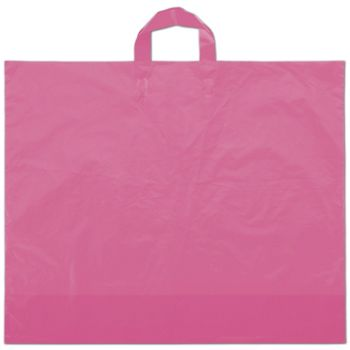 "Hot Pink Frosted Economy Shoppers, 22 x 18"" + 8"" BG"
