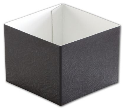 Black Swirl Hi-Wall Gift Box Bottoms, 4 x 4 x 3""