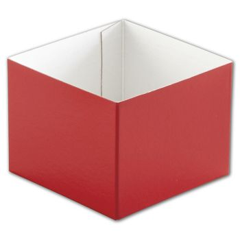 Red Hi-Wall Gift Box Bottoms, 4 x 4 x 3