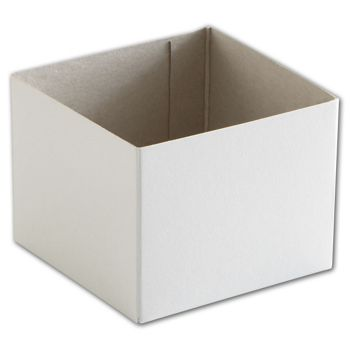 White Hi-Wall Gift Box Bottoms, 4 x 4 x 3""