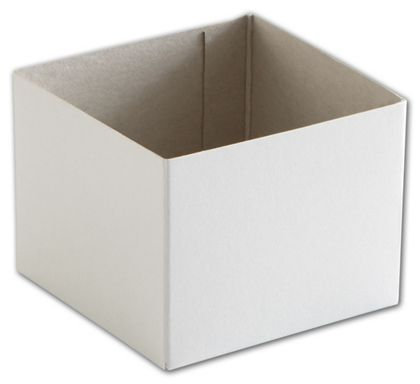"White Hi-Wall Gift Box Bottoms, 4 x 4 x 3"""