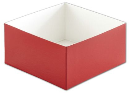 Red Hi-Wall Gift Box Bottoms, 6 x 6 x 3""
