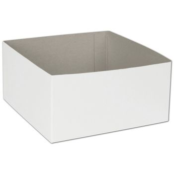 White Hi-Wall Gift Box Bottoms, 6 x 6 x 3