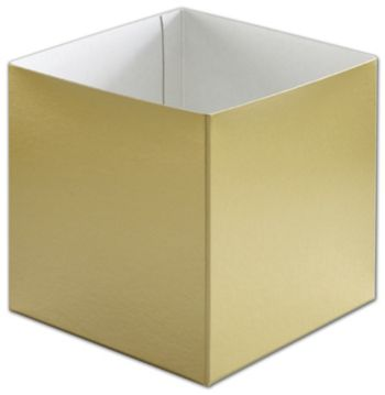 Gold Hi-Wall Gift Box Bottoms, 6 x 6 x 6