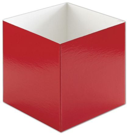 Red Hi-Wall Gift Box Bottoms, 6 x 6 x 6""