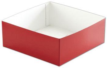 Red Hi-Wall Gift Box Bottoms, 8 x 8 x 3