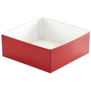 Red Hi-Wall Gift Box Bottoms, 8 x 8 x 3