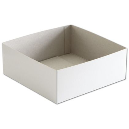 White Hi-Wall Gift Box Bottoms, 8 x 8 x 3""
