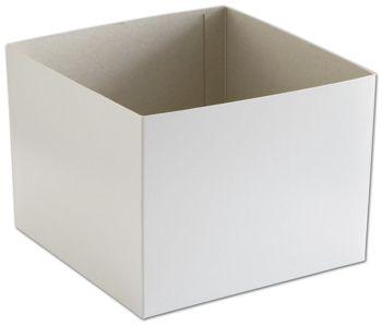 White Hi-Wall Gift Box Bottoms, 8 x 8 x 6