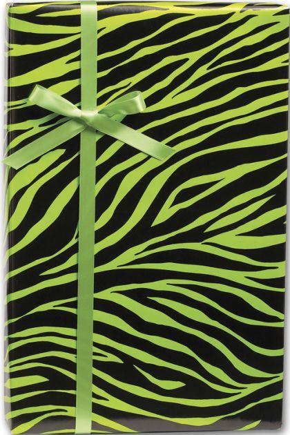 "Lime Zebra Gift Wrap, 24"" x 417'"