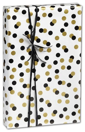 Golden Holiday Dots Gift Wrap, 24
