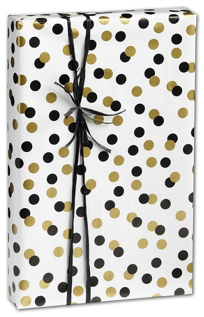 "Golden Holiday Dots Gift Wrap, 24"" x 417'"