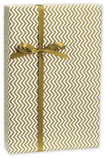 Chevron Gold Gift Wrap, 30