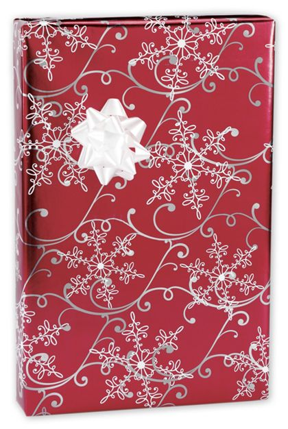 """Christmas Snowflakes Foil Gift Wrap, 24"""" x 417'"""