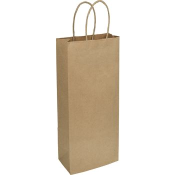 Kraft Heavy Weight 1-Bottle Wine Bags, 5 1/4 x 3 1/2 x 13
