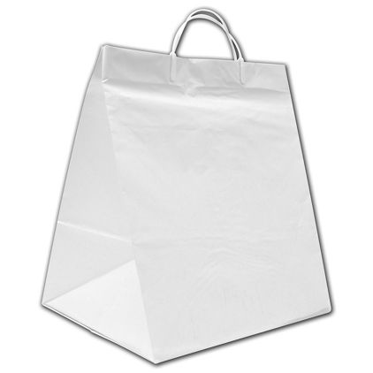 """White High-Density Poly Food Service Shoppers, 12x10x14"""""""