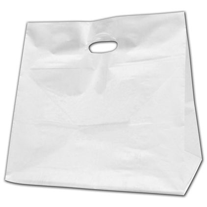 """White High-Density Poly Food Service Shoppers, 14x10x14"""""""