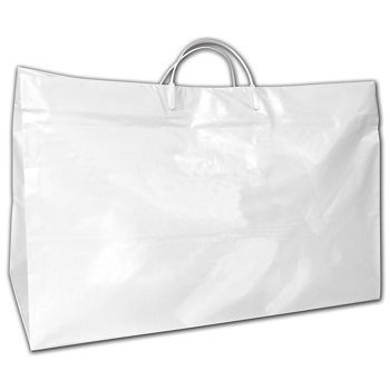 """White High-Density Poly Food Service Shoppers, 19x10x12"""""""