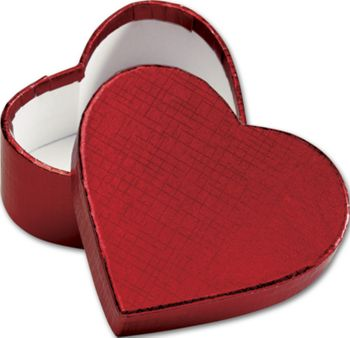 Crimson Heart Shaped Candy Boxes, 3 5/16 x 2 3/4 x 1 3/8