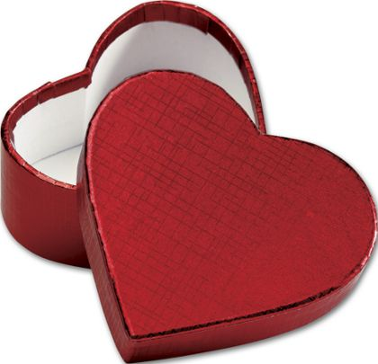 Crimson Heart Shaped Candy Boxes, 3 5/16 x 2 3/4 x 1 3/8""
