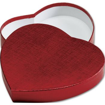 Crimson Heart Shaped Candy Boxes, 6 3/8 x 5 1/2 x 1 1/8