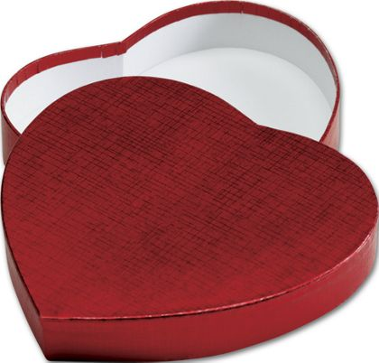 Crimson Heart Shaped Candy Boxes, 6 3/8 x 5 1/2 x 1 1/8""