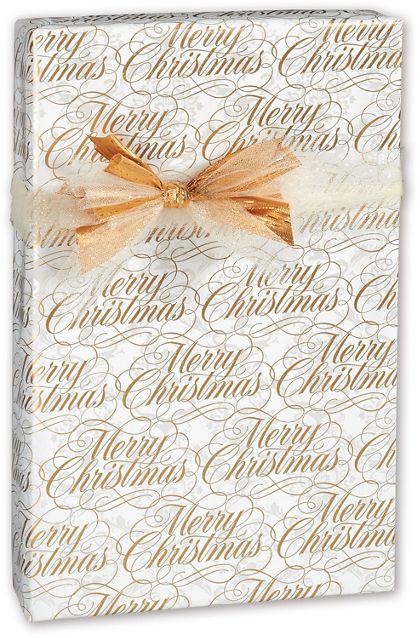 "Elegant Christmas Damask Gift Wrap, 24"" x 417'"