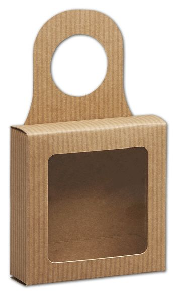 Kraft Stripes Bottle Hanger Favor Boxes, 3 5/8x3 5/8x1 1/8