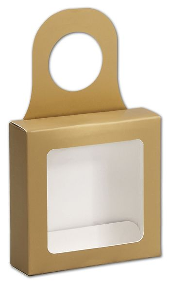 Metallic Gold Bottle Hanger Favor Boxes, 3 5/8x3 5/8x1 1/8