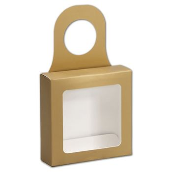 Metallic Gold Bottle Hanger Favor Boxes, 3 5/8x3 5/8x1 1/8