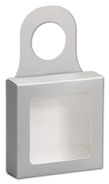 Metallic Silver Bottle Hanger Favor Boxes