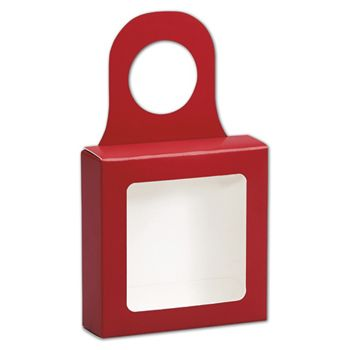 Red Bottle Hanger Favor Boxes, 3 5/8 x 3 5/8 x 1 1/8