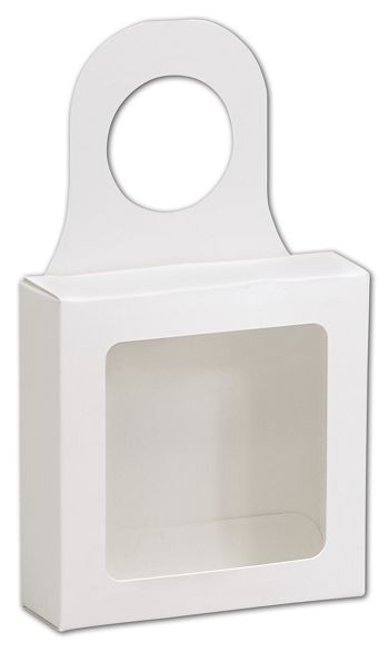 White Bottle Hanger Favor Boxes, 3 5/8 x 3 5/8 x 1 1/8