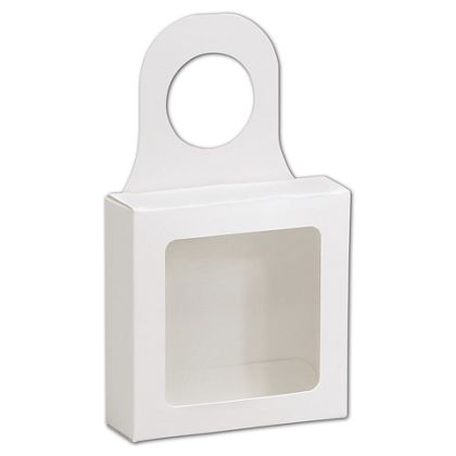 White Bottle Hanger Favor Boxes, 3 5/8 x 3 5/8 x 1 1/8""