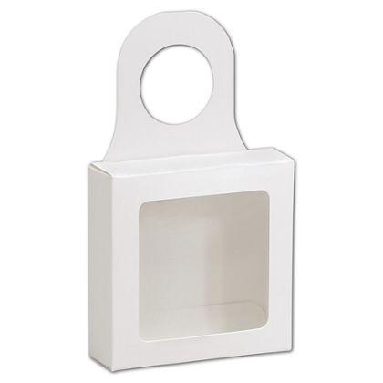 """White Bottle Hanger Favor Boxes, 3 5/8 x 3 5/8 x 1 1/8"""""""