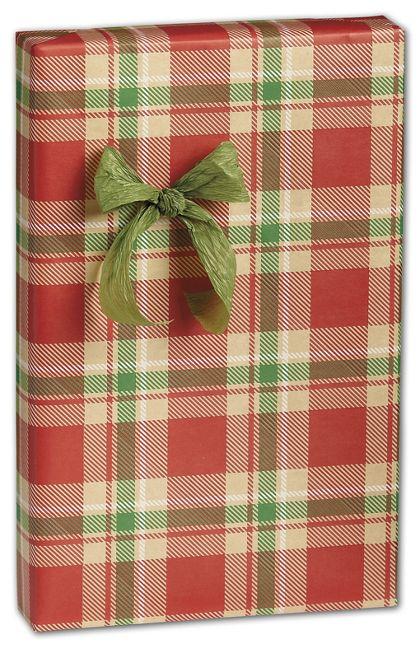 "Christmas Plaid Gift Wrap, 24"" x 417'"