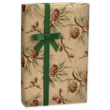 Pine Cones in Kraft Gift Wrap, 24