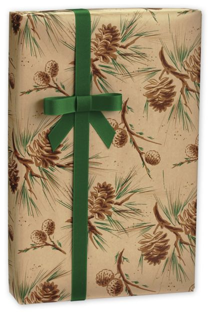 "Pine Cones in Kraft Gift Wrap, 24"" x 417'"