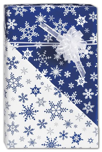 Blue Snowflakes Reversible Gift Wrap, 24