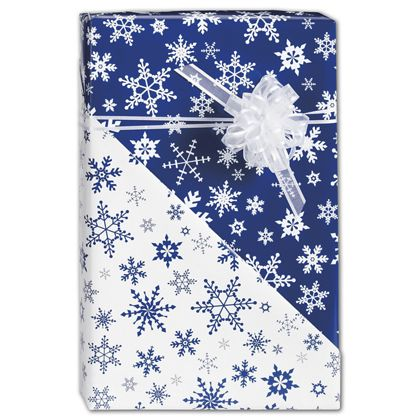 "Blue Snowflakes Reversible Gift Wrap, 24"" x 417'"