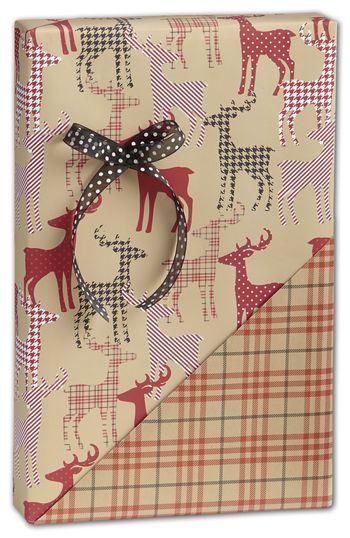 Deer/Plaid Reversible Gift Wrap, 24
