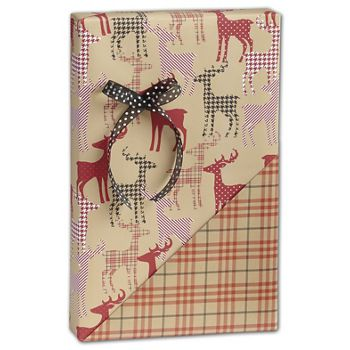 Deer/Plaid Reversible Gift Wrap, 24