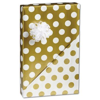Gold Dots Reversible Gift Wrap, 24