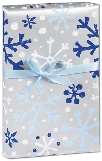 Silver & Blue Flurries Gift Wrap, 24