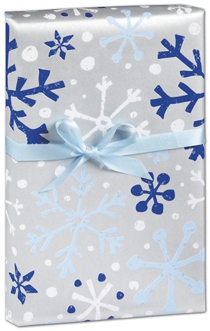 "Silver & Blue Flurries Gift Wrap, 24"" x 417'"
