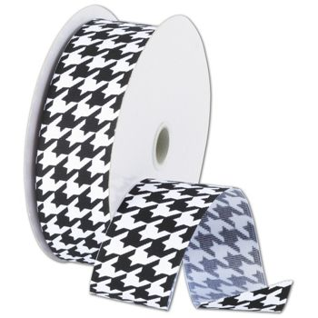 Black and White Houndstooth Ribbon, 1 1/2
