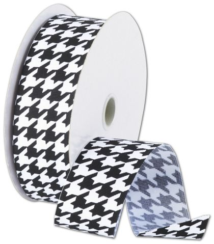 "Black and White Houndstooth Ribbon, 1 1/2"" x 25 Yds"