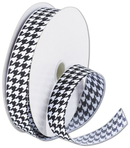 "Black and White Houndstooth Ribbon, 7/8"" x 25 Yds"