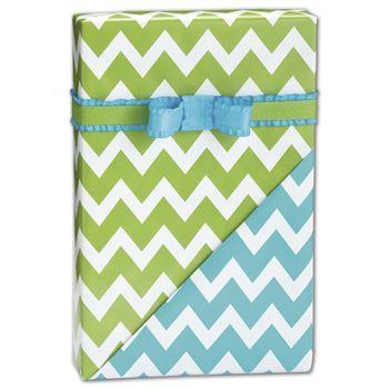 Chevron Apple/Turquoise Reversible Gift Wrap, 24